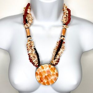 Jewelry - Handmade Coral Color Shell Multi Strand Necklace